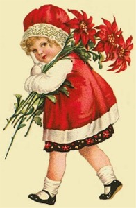girl with poinsettias